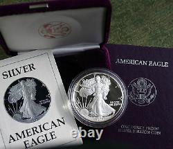 1987 S Américan Silver Eagle Proof Dollar Us Mint Asse Coin Avec Boîte Et Coa