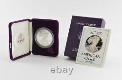 1988-s American Silver Eagle Proof 1 Oz. Boîte À Velours Bullion Argent & Coa