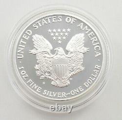 1989 American Silver Eagle Proof 1 Oz Silver Bullion Velvet Box & Coa