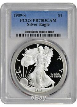 1989-s Américain Silver Eagle Proof Pcgs Pr70 Dcam