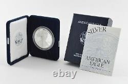 1995-p American Silver Eagle Proof 1 Oz Silver Bullion Velvet Box & Coa