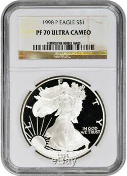 1998-p Américain Silver Eagle Proof Ngc Pf70 Ucam