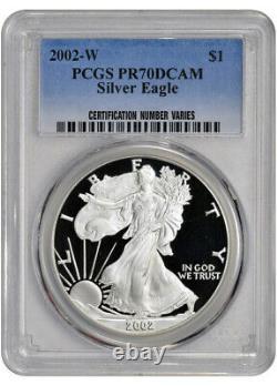 2002-w American Silver Eagle Proof Pcgs Pr70 Dcam