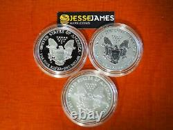 2006 P Inversée Preuve Silver Eagle 3 Coin 20ème Anniversaire Set W Boîte / Coa