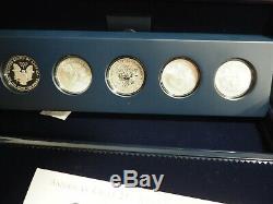 2011 P Preuve Inversée Silver Eagle 5 Coin 25e Anniversaire W Set Box / Coa S W