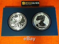 2013 W Inversée Proof & Enhanced Silver Eagle 2 Coin West Point Avec Boîte / Coa