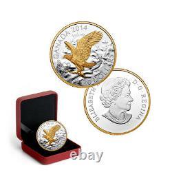 2014 Canada 20 $ Aigle Chauve Perché 1 Oz Pure Silver Proof Gold-plate Coin