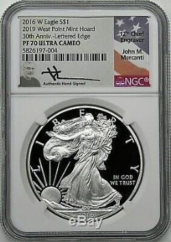 2016 W 1 $ Proof Silver Eagle Ngc Pf70 Ucam Mercanti 2019 West Point Mint Hoard