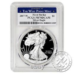 2017 W $1 1oz Proof Silver Eagle Pcgs Pr70 Dcam Première Grève W Menthe Label
