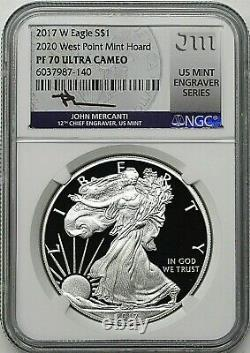 2017 W $1 Silver Eagle 2020 W. P. Mint Hoard Ngc Pf70 Ucam Mercanti Mint Graveur