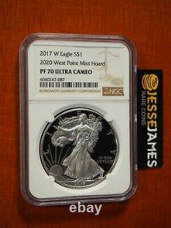 2017 W Proof Silver Eagle Ngc Pf70 À Partir De L'étiquette De 2020 West Point Mint Hoard Brown