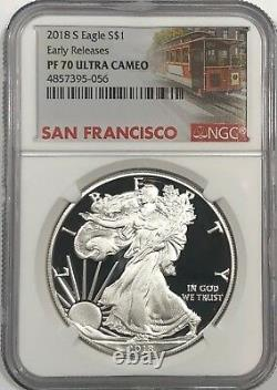 2018 S Ngc Pf70 Early Releases Proof Silver Eagle Trolley Label Ships 2day