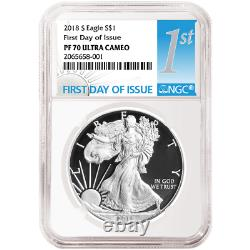 2018-s Proof $1 American Silver Eagle Ngc Pf70uc Ide First Label