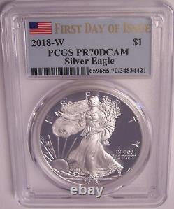 2018-w $1 Pcgs Pr70dcam Premier Jour D'émission Flag Silver Proof American Eagle Fdi