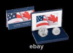 2019 Fierté De Deux (2) Des Nations Us $ 1 Argent Eagle & 5 $ Maple Leaf Ogp