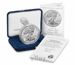 2019 S 1 Oz D'argent American Eagle Proof Enhanced Gem 1 Ogp Inversée Sku60027 $