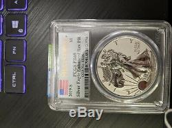 2019 S American Eagle One Ounce Silver Proof Inverse Amélioré Coin Gpc Pr 69