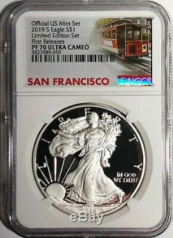 2019 S Proof Silver Eagle Limited Edition Set Ngc Pf70 Fr Ultra Cameo Chariot