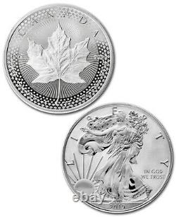 2019 Silver Eagle & 1 Oz Maple Leaf Fierté Deux Nations 2 Coin Us Mint Set Sku58513
