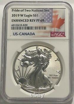 2019 W 1 $ Améliorée Preuve Inversée Ngc Pf69 Silver Eagle Pride Of Two Nations
