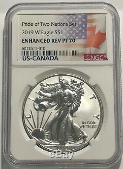 2019 W 1 $ Améliorée Preuve Inversée Ngc Pf70 Silver Eagle Pride Of Two Nations