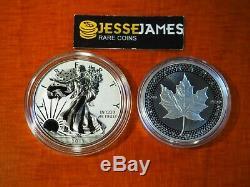 2019 W Preuve Inverse Amélioré Silver Eagle Maple Leaf Pride Of Set Two Nations