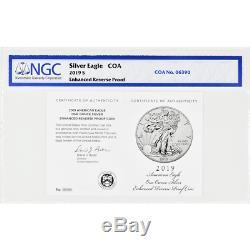 2019-s Amélioré Inverse Preuve 1 $ Américain Silver Eagle / Coa # Ngc Pf69 Chariot