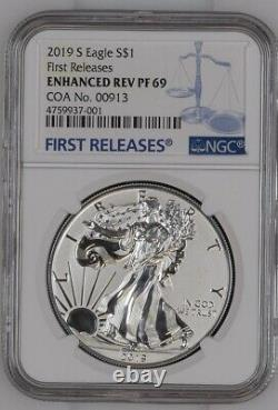 2019-s Enhanced Reverse Proof Silver Eagle Ngc Pf69 Coa#913! Non Ouvert Du Mbac