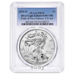 2019-w Inversé Preuve 1 $ Américain Silver Eagle Pcgs Pr70 Blue Label Pride Of Two