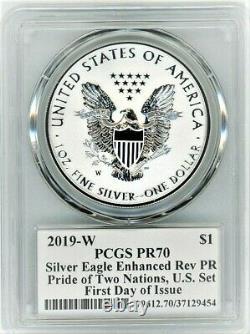 2019-w Preuve Amélioré / Arrière Silver Eagle-pcgs Pr70-fdoi-mercanti-pride / Nation