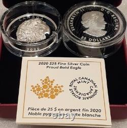 2020 Dse Fier Pygargue À Tête Blanche Extrahigh Relief Head 25 $ 1oz Silver Proof Coin Canada