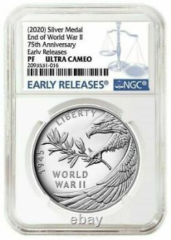 2020 P Fin De La Seconde Guerre Mondiale 2 II 75e Anniversaire 1oz Médaille D'argent Aigle Ngc Pf69