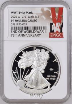 2020 W Fin De La Seconde Guerre Mondiale 2 75e American Silver Eagle V75 Ngc Pf70 70 Presale