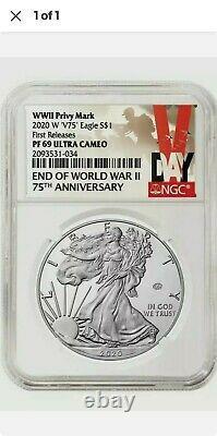 2020 W Fin De La Seconde Guerre Mondiale 75e Aigle D'argent Américain V75 Ngc Pf69 69 Presale
