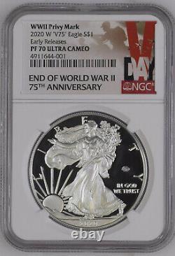 2020 W Fin De La Seconde Guerre Mondiale 75e Anniversaire American Silver Eagle V75 Ngc Pf70 Pré-vente