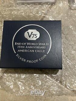 2020 W Fin De La Seconde Guerre Mondiale Silver Eagle Pcgs Pr70dcam 1ère Grève V75 Privy & Coa
