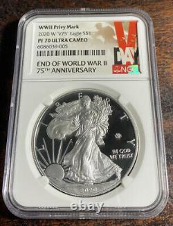 2020 W Fin De La Seconde Guerre Mondiale V75 Silver American Eagle Ngc Pf 70