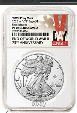 2020 W Fin De La Seconde Guerre Mondiale V75 Silver American Eagle Ngc Pf 70 Fr En Stock