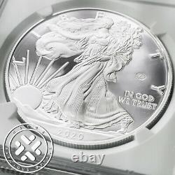 2020 W Ngc Pf70 Ultra Cameo Fin De La Guerre Mondiale II 75e Eagle De Silver D'annive V75