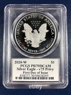 2020 W Proof $1 American Silver Eagle Wwii 75ème Pcgs Pr70dcam Fdoi V75 Signé