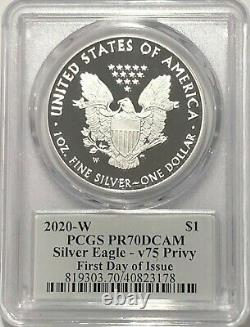 2020 W Silver Eagle Pcgs Pr70 First Day V75 Privy 75th Ann End World War 2 Fdoi