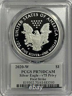 2020 W Silver Eagle Pcgs Pr70 First Strike V75 Privy 75th Ann End World War 2 Fs