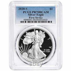 2020-s Preuve $1 American Silver Eagle Pcgs Pr70dcam Fs Blue Label