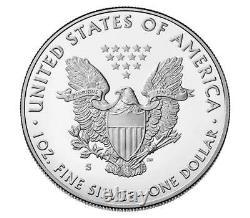 2020-s Proof 1 $ American Eagle Argent Pcgs Pr70dcam Fdoi Drapeau Withogp