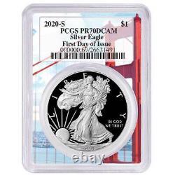 2020-s Proof $1 American Silver Eagle Pcgs Pr70dcam Fdoi Golden Gate Cadre