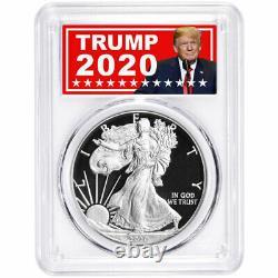 2020-s Proof $1 American Silver Eagle Pcgs Pr70dcam Trump 2020 Label