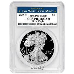 2020-w Preuve 1 $ Américain Silver Eagle Pcgs Pr70dcam Fdoi West Point Étiquette