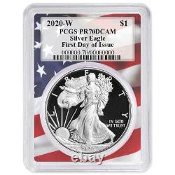 2020-w Preuve 1 $ American Eagle Argent Pcgs Pr70dcam Fdoi Drapeau Cadre