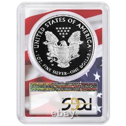 2020-w Preuve 1 $ American Eagle Argent Pcgs Pr70dcam Premier Drapeau De Grève Cadre