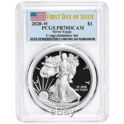 2020-w Proof 1 $ Américain Silver Eagle Félicitations Set Pcgs Pr70dcam Fdoi Fla